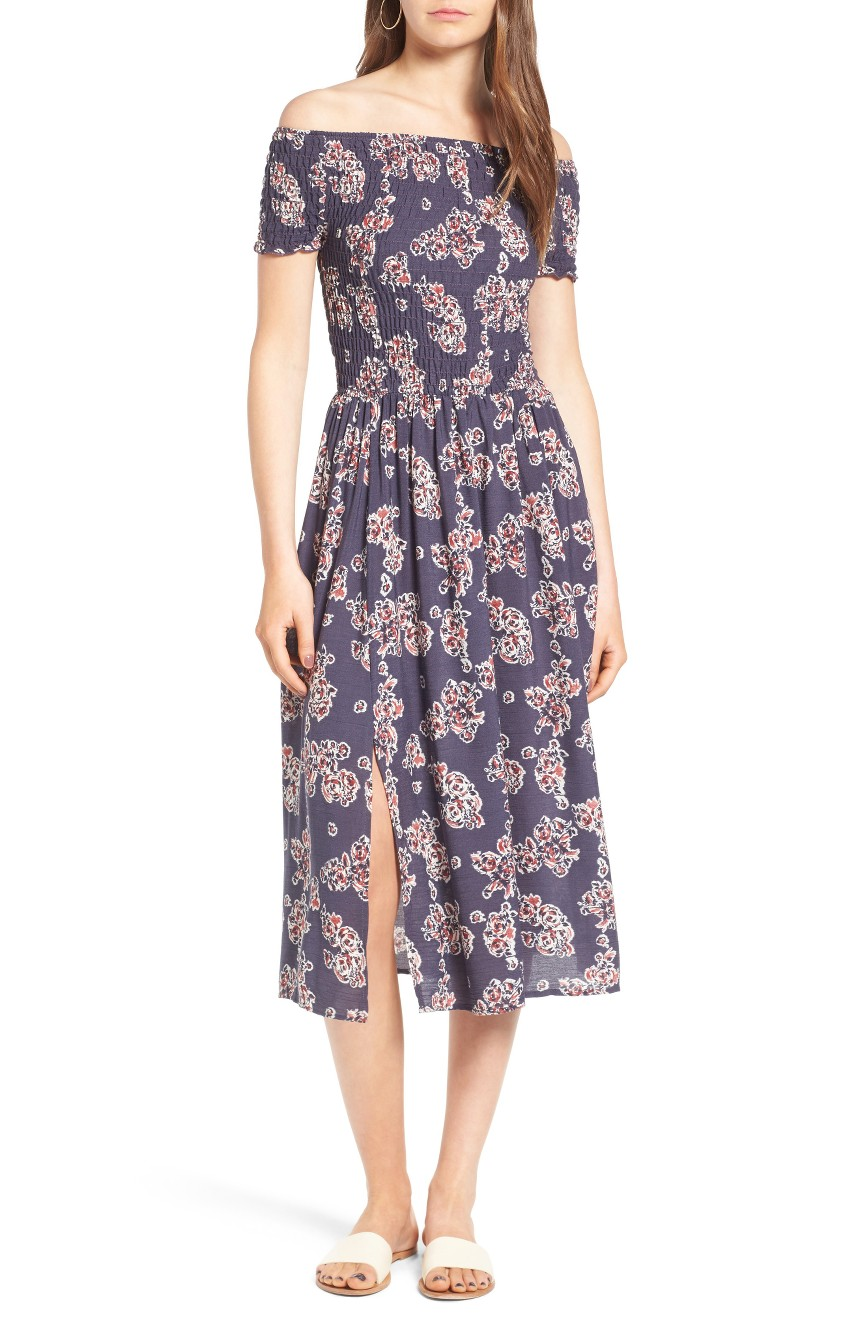 Smocked Off the Shoulder Midi Dress, $29.40                                     (Image: Nordstrom)