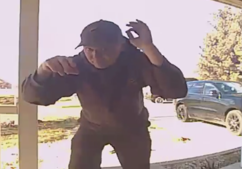 UPS driver caught dancing on doorbell camera (Screengrab from video: Bethany Auth)