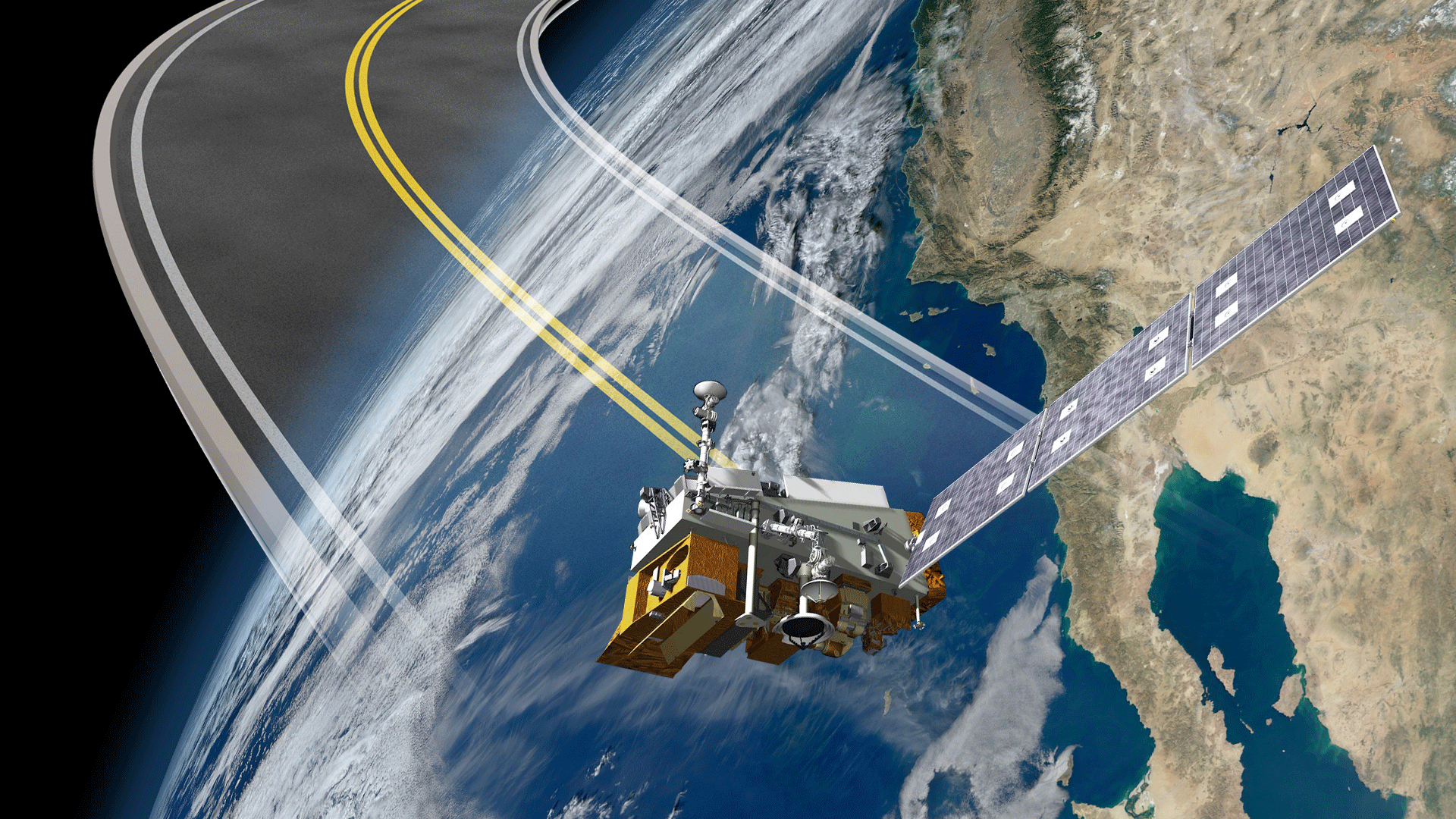Artist's rendering of the JPSS-1 satellite in orbit (NASA Photo)