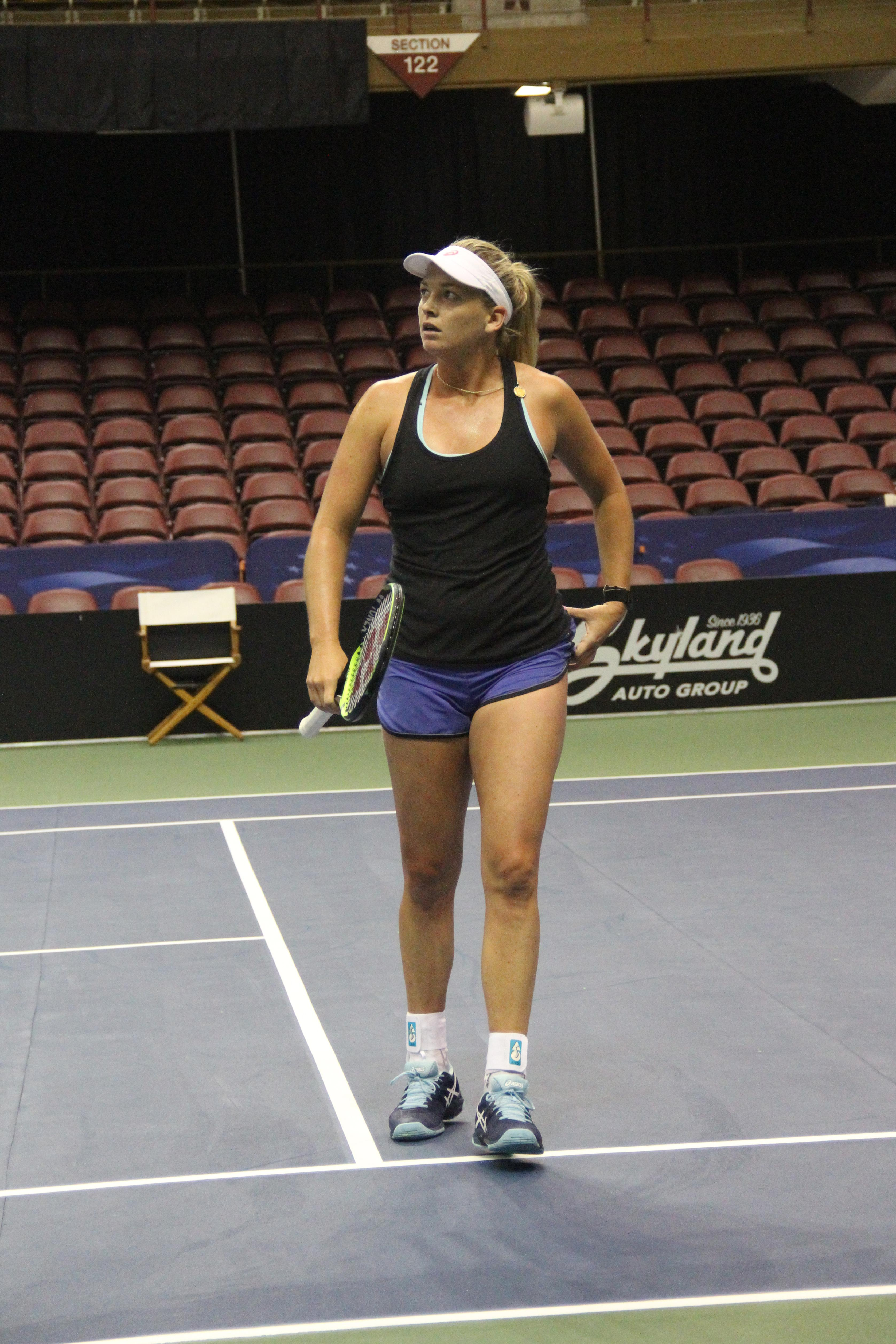 <p>CoCo Vandeweghe practices at the US Cellular Center on Feb. 7, 2018, ahead of the Fed Cup. (Photo credit: WLOS Staff)</p>