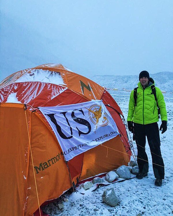 Connor Love at Team USX's base camp.