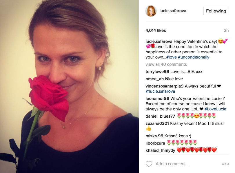 "Lucie Safarova shares a photo on Instagram wishing a ""Happy Valentine's Day!"""