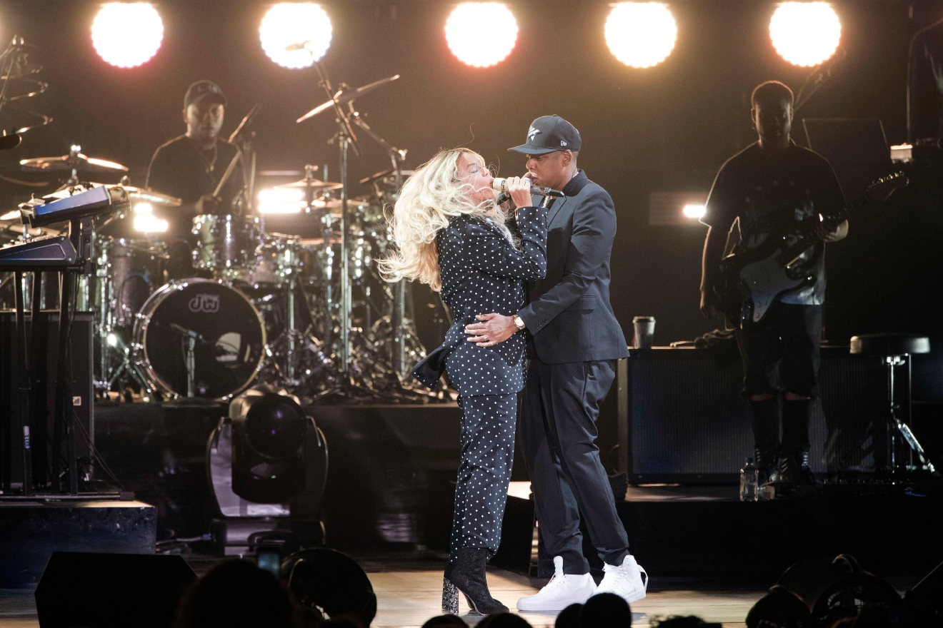 Jay Z and Beyonce perform during a campaign rally for Democratic presidential candidate, Hillary Clinton, in Cleveland, Friday, Nov. 4, 2016. Clinton's campaign is turning to a series of star-studded free concerts in swing states to try and energize young and minority voters. (AP Photo/Matt Rourke)