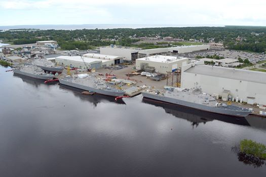 An aerial view of the littoral combat ships in the Menominee River. (Photo courtesy Lockheed Martin)