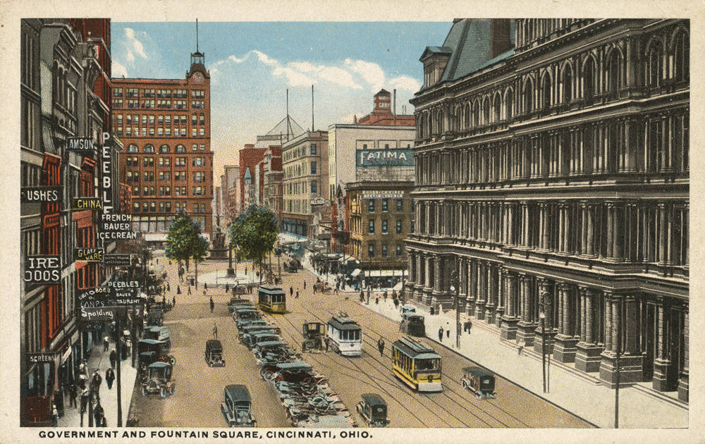 Government and Fountain Square, looking west toward Vine Street / DATE: Unknown / COLLECTION: Public Library of Cincinnati and Hamilton County, Paul F. Bien postcard collection / Image courtesy of the digital archive of The Public Library of Cincinnati and Hamilton County // Published: 4.4.18
