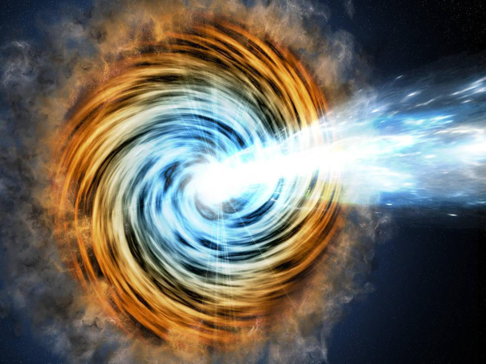 PICTURE SHOWS: Black-hole-powered galaxies called blazars are the most common sources detected by NASA's Fermi Gamma-ray Space Telescope. As matter falls toward the supermassive black hole at the galaxy's center, some of it is accelerated outward at nearly the speed of light along jets pointed in opposite directions. When one of the jets happens to be aimed in the direction of Earth, as illustrated here, the galaxy appears especially bright and is classified as a blazar. (2016-08-24) (NASA)