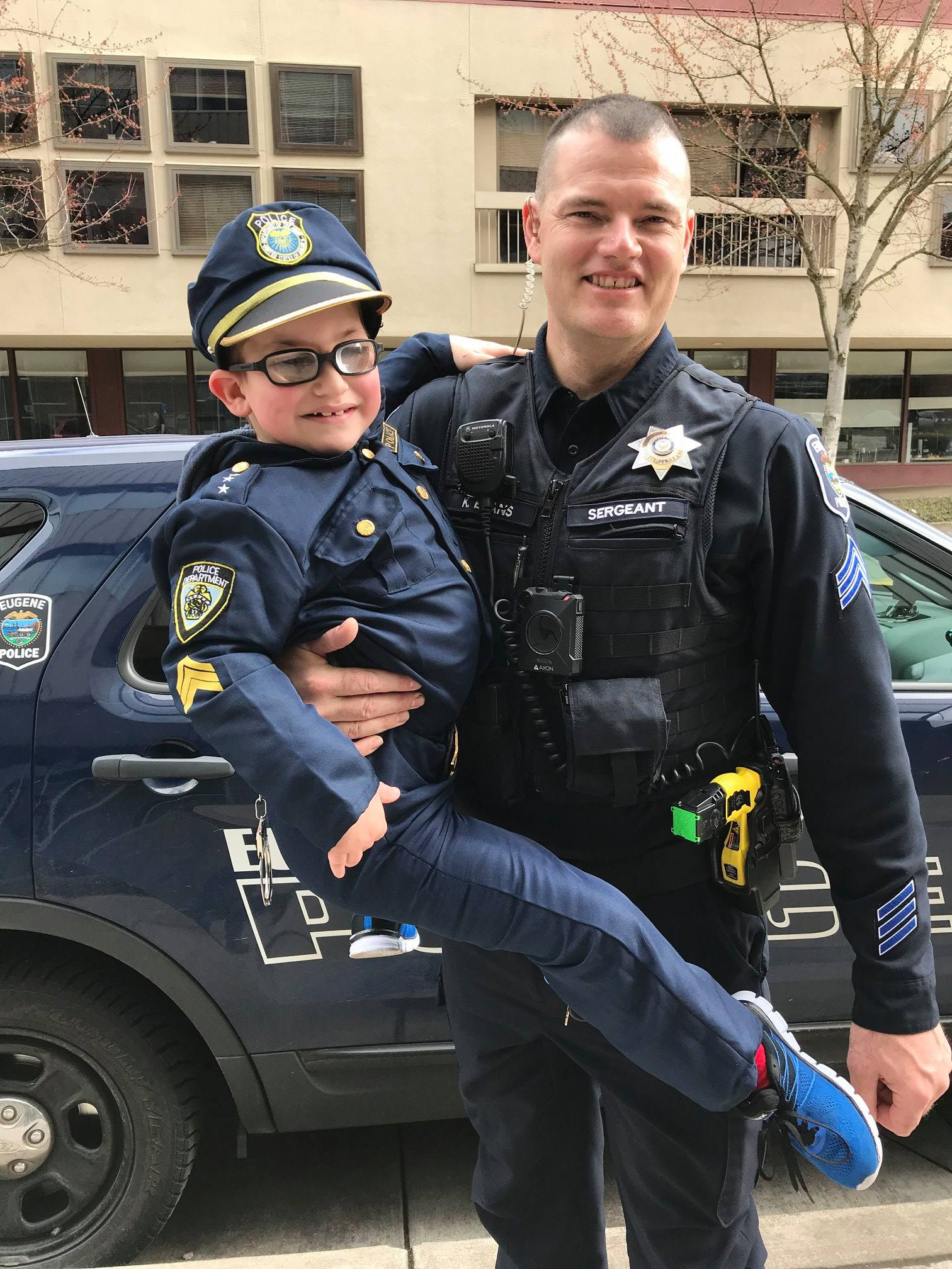 Eugene Police shared the story of Officer Camden McGee, a 10-year-old boy with a rare disorder who dresses up as a police officer and walks a beat in Eugene. (Eugene Police photo)