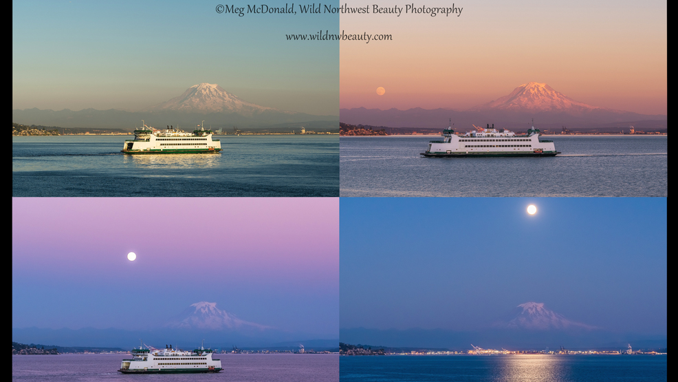 Watch: Ferry, moons, tides and Mt. Rainier