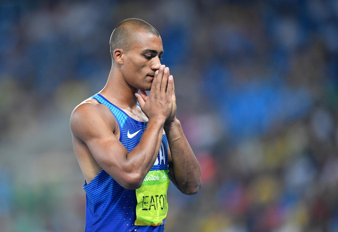 United States' Ashton Eaton concentrates before an attempt in the high jump of the decathlon during the athletics competitions of the 2016 Summer Olympics at the Olympic stadium in Rio de Janeiro, Brazil, Wednesday, Aug. 17, 2016. (AP Photo/Martin Meissner)