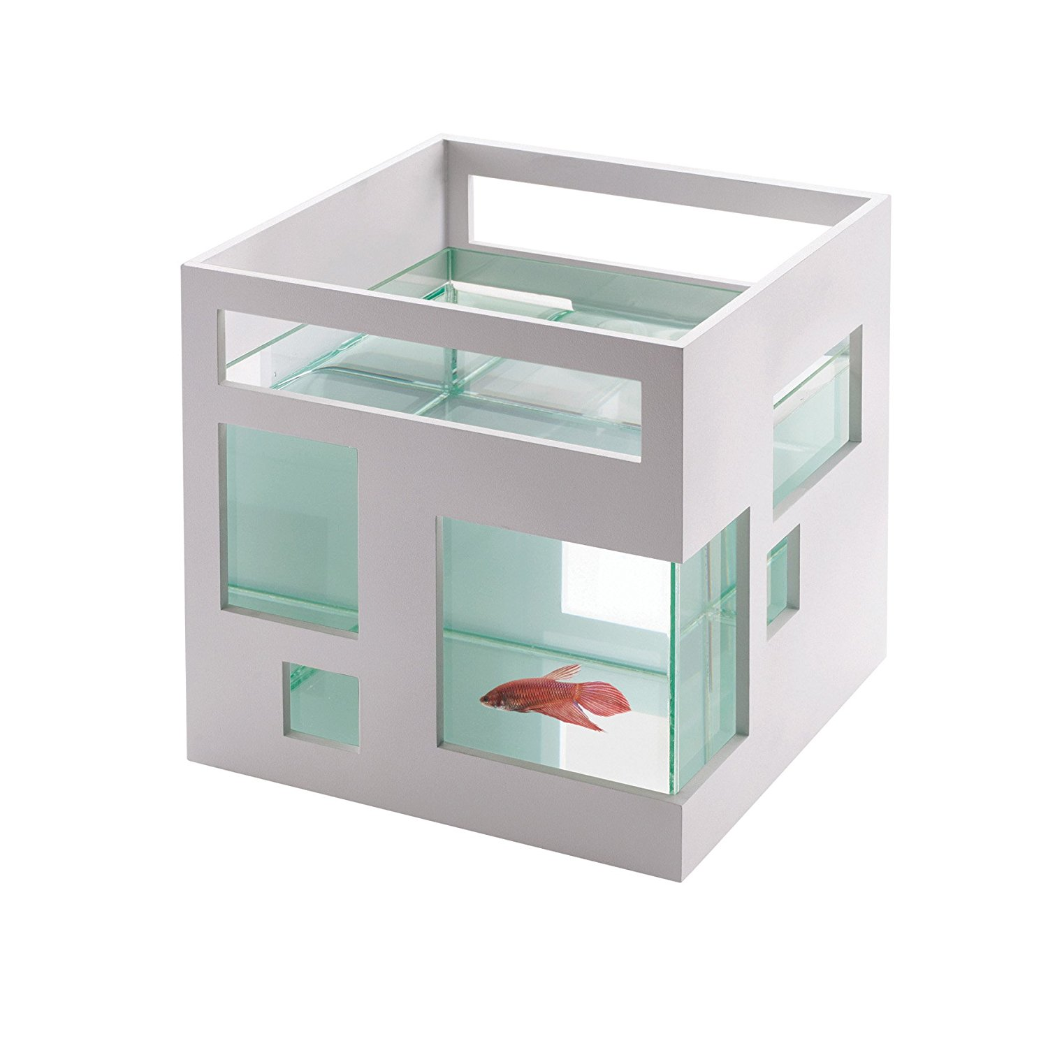 Provide your fishy friends with a modern home modeled after a contemporary condominium apartment. The sleek white shell has assymetrical windows and is the perfect home for bettas, goldfish and other small fish. Stack individual units for a cool condo effect. The small glass bowl is removable for easy cleaning.{&amp;nbsp;}Available for purchase at Amazon. (Image: Amazon)<p></p>