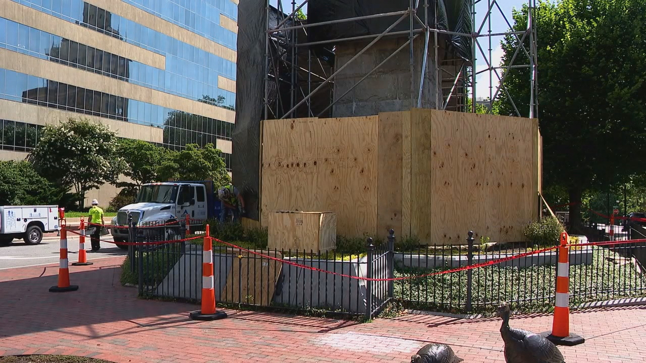 Neither the Asheville City Council nor the Buncombe County Board of Commissioners has reached a decision on what to do with the Vance Monument. (Photo credit: WLOS staff)