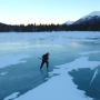VIDEO: Ice-skater propels himself across lake using chainsaw