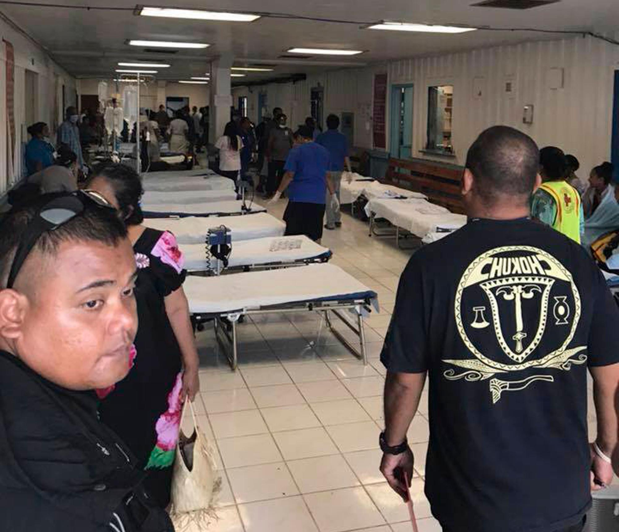 This image provided by Matthew Colson shows beds at a hospital after an Air Niugini plane has crash landed in a Pacific lagoon, near Chuuk Airport in Chuuk Island, Federated States of Micronesia, Friday, Sept. 28, 2018. All of the passengers and crew survived the crash landing. The Air Niugini plane hit the water short of the runway while trying to land at the island, according to the airline. (Matthew Colson via AP)