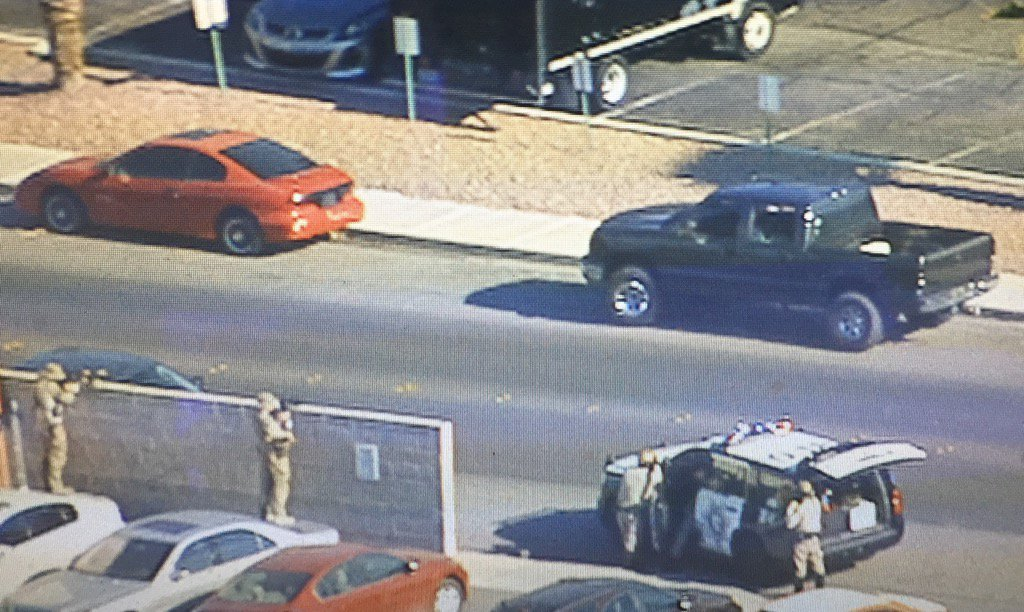 An LVMPD officer has been injured in a shooting near Tropicana and Arville. (Sky 3 | KSNV)