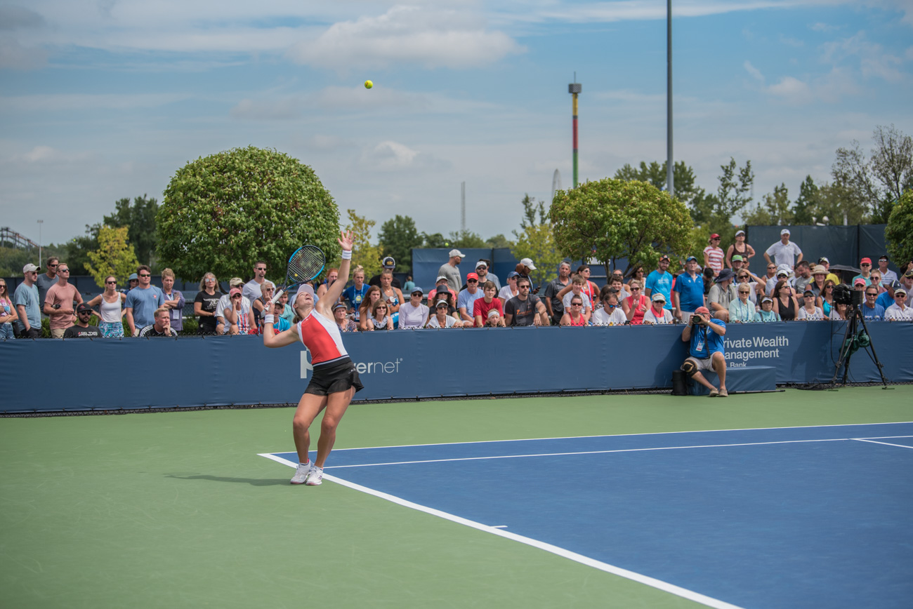 Caty McNally of Cincinnati serves{ }/ Image: Mike Menke{ }// Published: 8.14.19