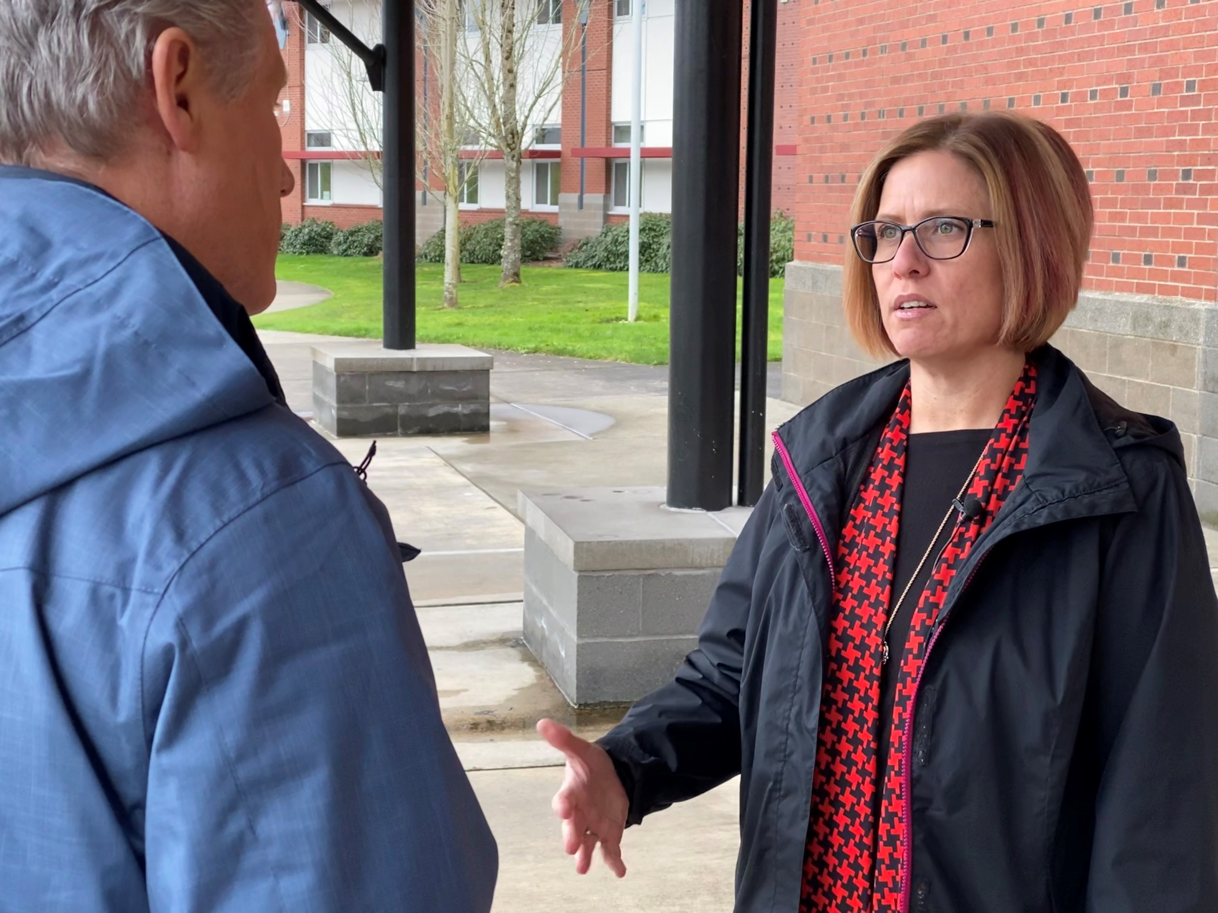 Camas High School Principal Liza Sejkora speaks to KATU reporter Bob Heye on Tuesday, Feb. 4, 2020 after she apologized for a Facebook post she made after basketball star Kobe Bryant was killed in a helicopter crash last month. (Photo: Ric Peavyhouse/KATU News)