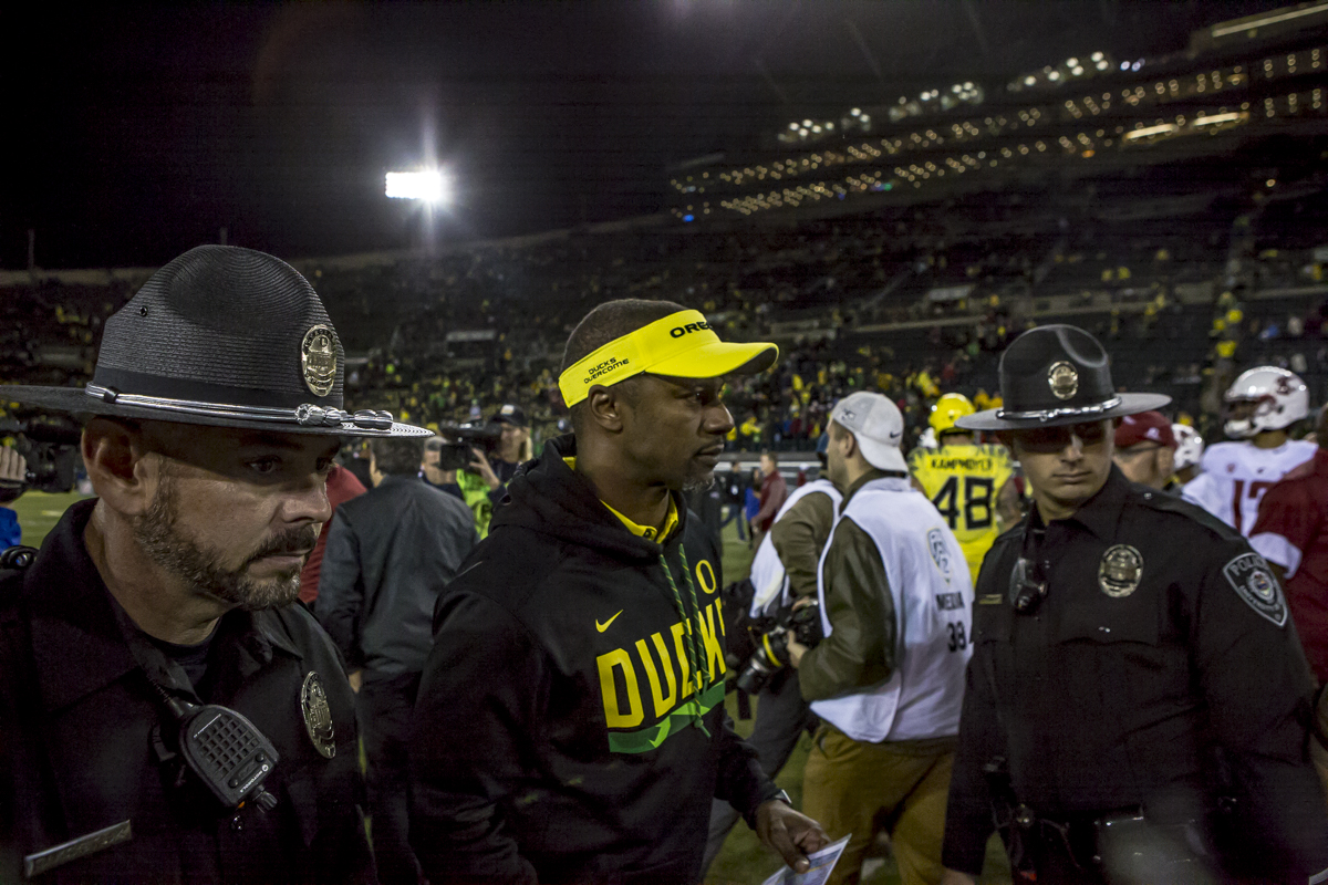 Oregon head coach Willie Taggart leaves the field following his first home loss of the 2017 season. The Washington State Cougars defeated the Oregon Ducks 33 to 10 on Saturday, October 7, 2017.  Photo by Ben Lonergan, Oregon News Lab