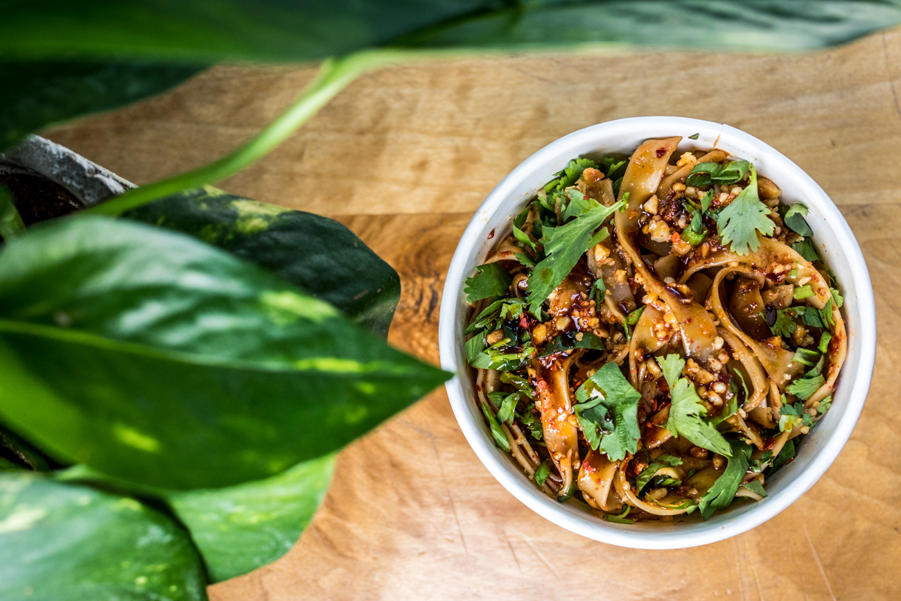 Chili Noods: chilled noodles, garlic, peanuts, chili oil, cilantro, and green onion / Image: Catherine Viox // Published: 6.4.20