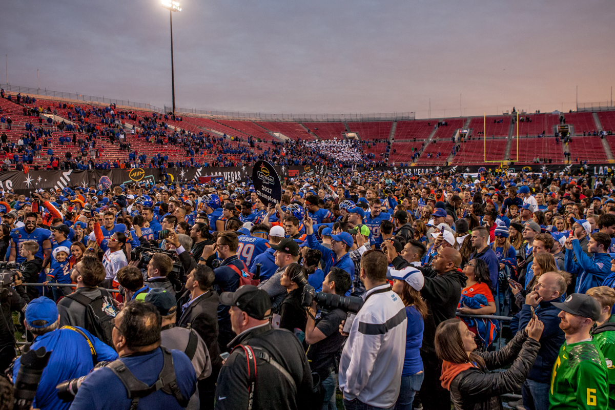 Boise State fans celebrate the Bronco's 2017 Las Vegas Bowl win. The Boise State Broncos defeated the Oregon Ducks 38 to 28 in the 2017 Las Vegas Bowl at Sam Boyd Stadium in Las Vegas, Nevada on Saturday December 17, 2017. The Las Vegas Bowl served as the first test for Oregon's new Head Coach Mario Cristobal following the loss of former Head Coach Willie Taggart to Florida State University earlier this month. Photo by Ben Lonergan, Oregon News Lab