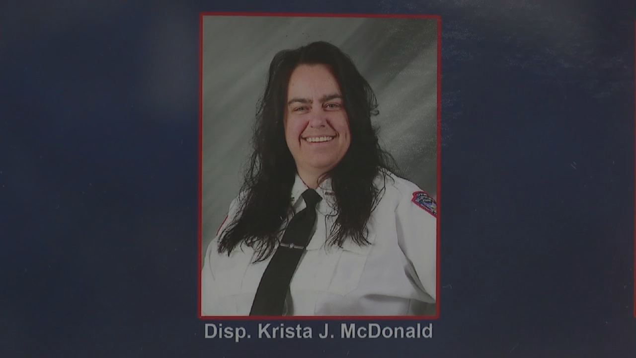 Krista McDonald, a 15-year Bellefontaine police dispatcher and volunteer EMT, was killed Saturday night in an accident in Hardin County. (WSYX/WTTE)