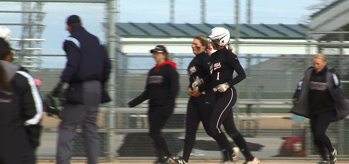 Hastings College shortstop Taylor Asche makes her way around the bases after a home run. (NTV News)