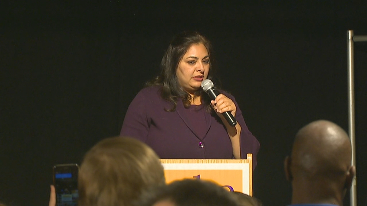 Manka Dhingra addresses supporters Tuesday night. (Photo: KOMO News)