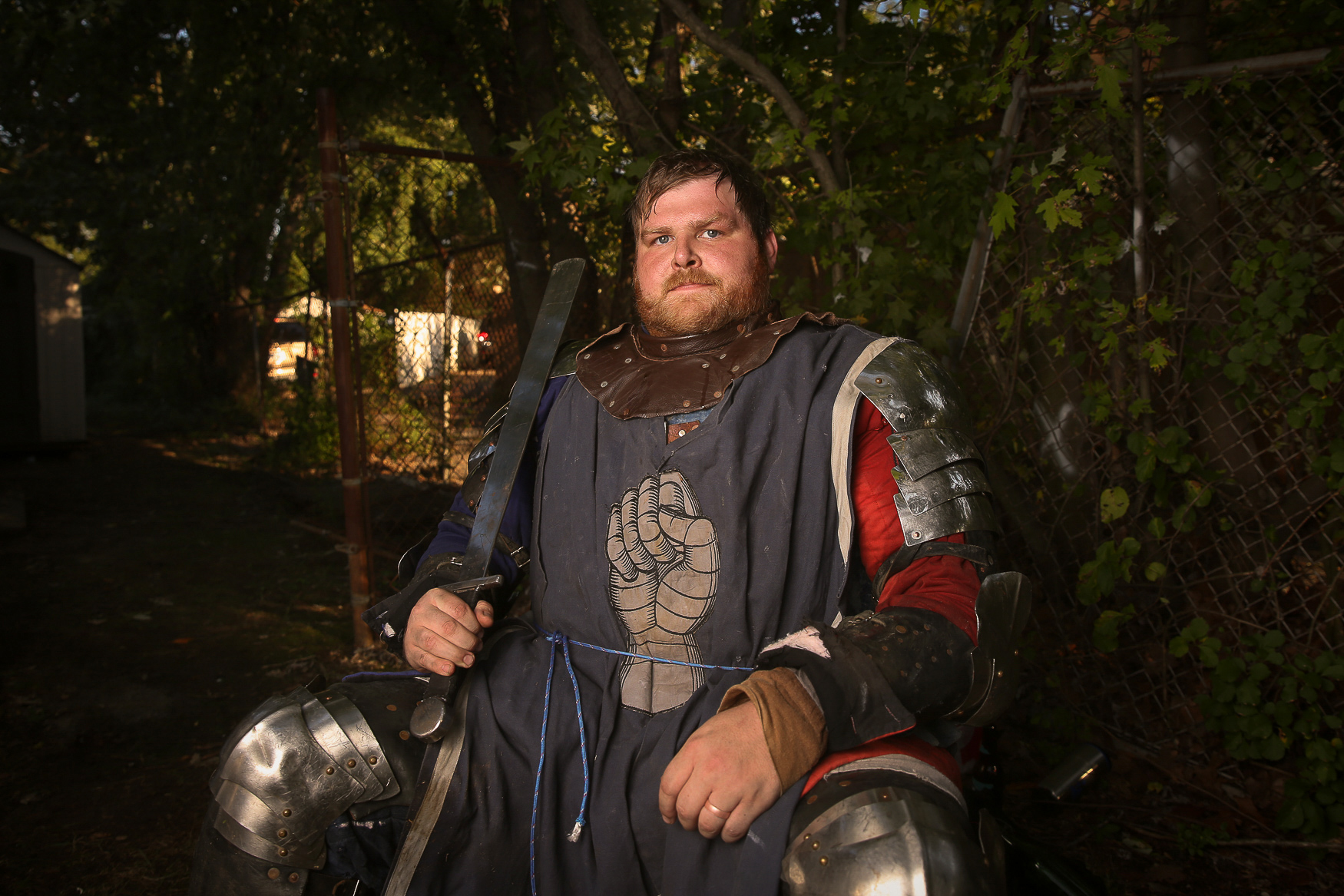 "Andrew Dionne is a member of the Washington Juggernauts as well as the regional commander of the Armored Combat League. ""I was born into fighting in general. Both of my parents were into medievalism before I was born and I just got into it and loved it."" (Amanda Andrade-Rhoades/DC Refined)"