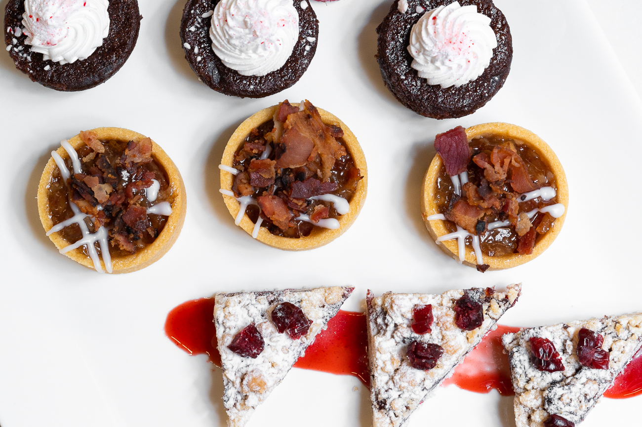 Chef's Choice offers various apps & platters that are available through the end of the year. Pictured: Peppermint brownie bites, bourbon bacon apple tarts, and cranberry nut bars / Image: Phil Armstrong, Cincinnati Refined // Published: 11.6.20