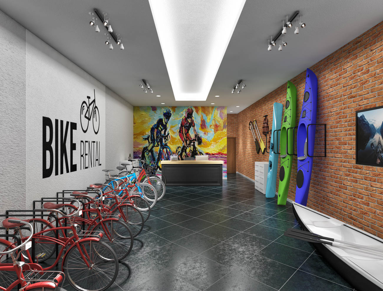 A rendering of a canoe and bike rental business / Image courtesy of Oval Room Group // Published: 9.17.19