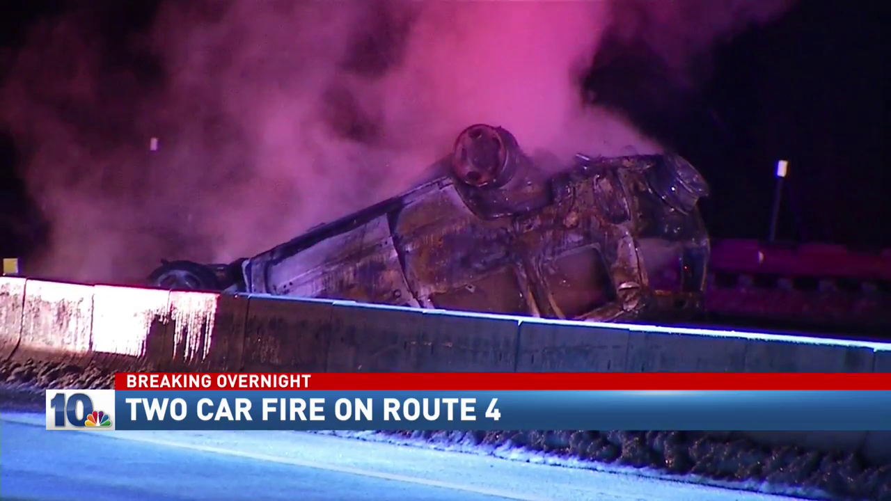 Officials in North Kingstown investigating the cause of a two car fiery crash overnight on Route 4.