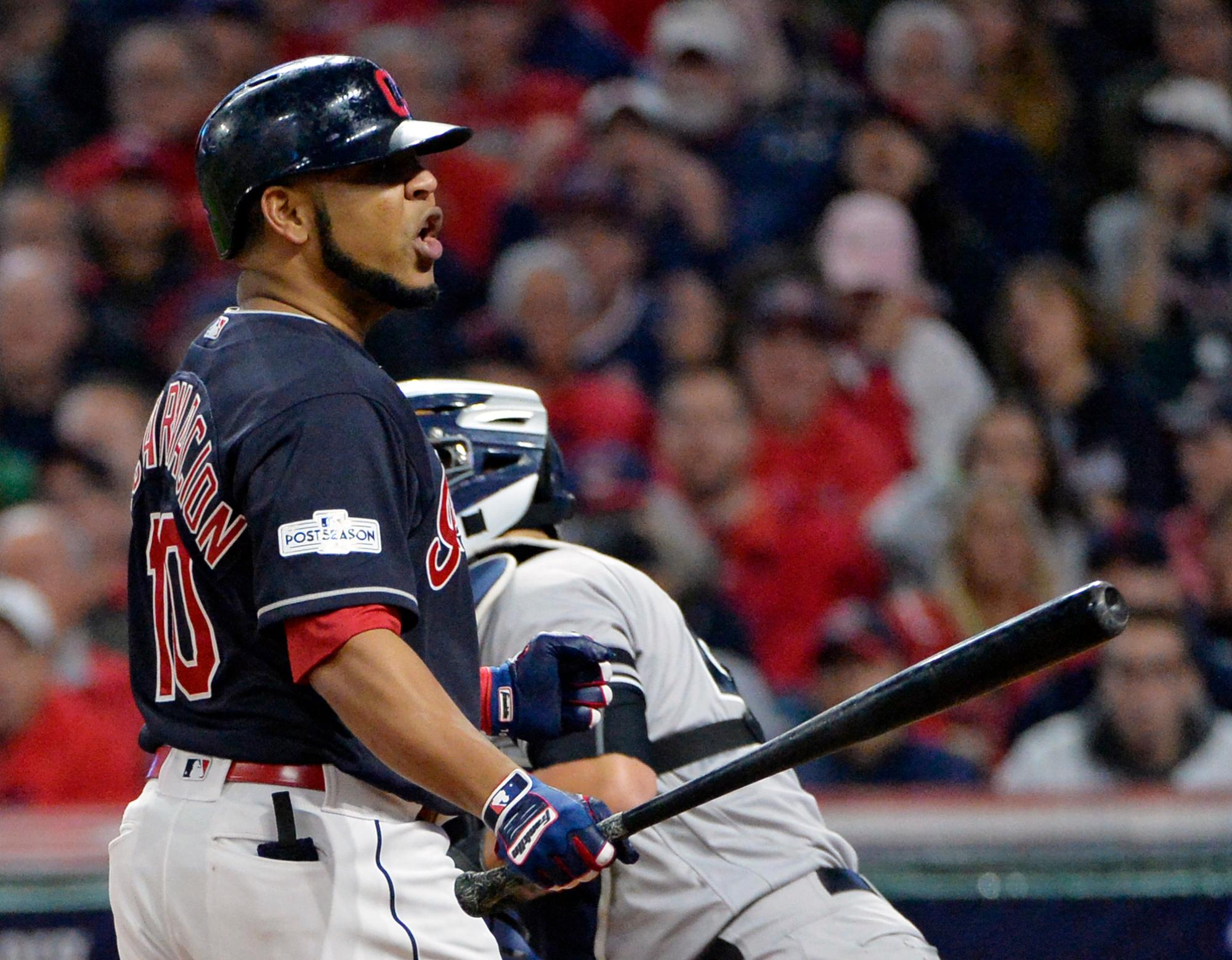 Cleveland Indians' Edwin Encarnacion reacts after striking out against New York Yankees starting pitcher CC Sabathia during the fourth inning of Game 5 of a baseball American League Division Series, Wednesday, Oct. 11, 2017, in Cleveland. (AP Photo/Phil Long)