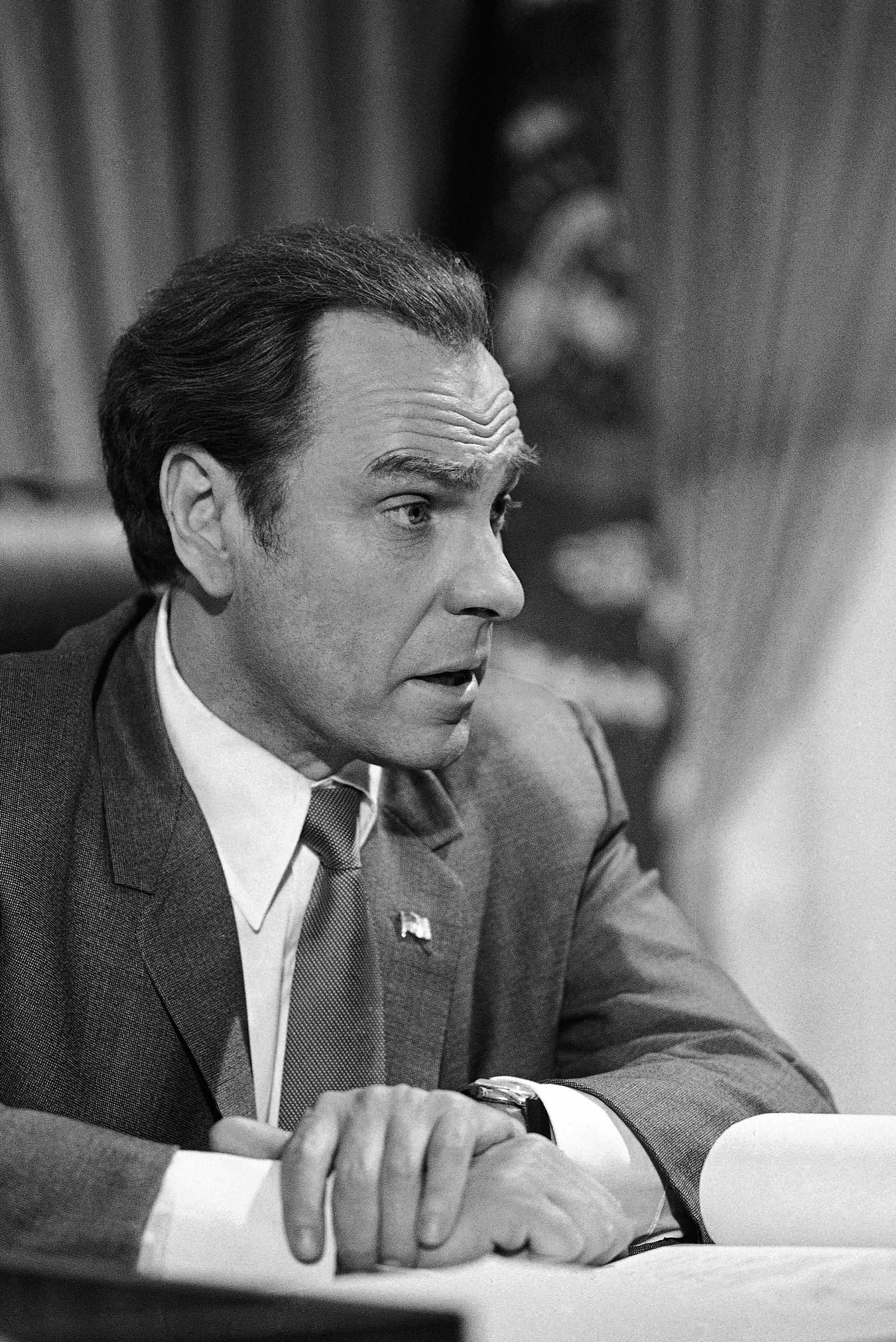 "FILE - In this Dec. 8, 1978, file photo, actor Rip Torn plays Richard Nixon during the filming of ""Blind Ambition,"" an eight-hour film for television. Award-winning television, film and theater actor Torn has died at the age of 88, his publicist announced Tuesday, July 9, 2019. (AP Photo/Doug Pizac, File)"