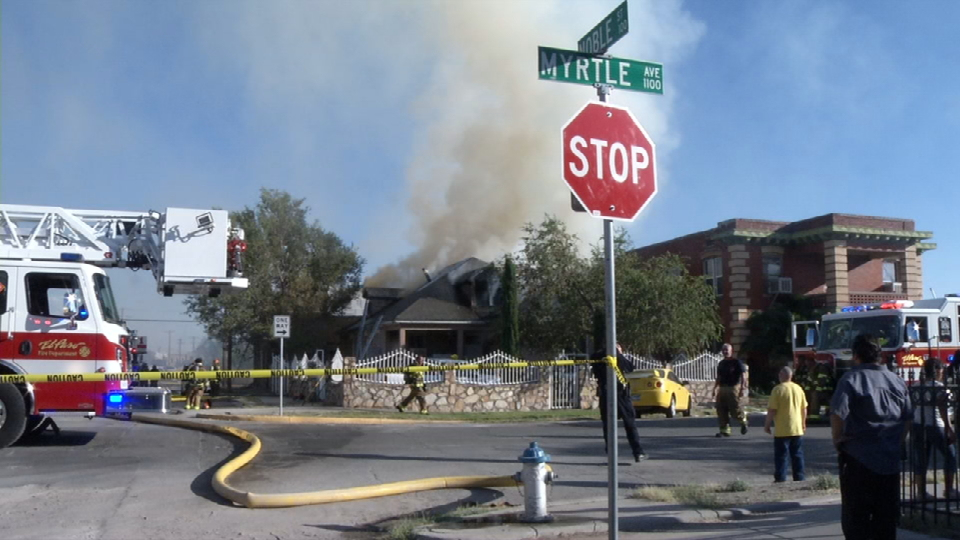 Large fire breaks out at a home on Myrtle Avenue and Noble Street in South Central El Paso. (CBS4/KFOX14)