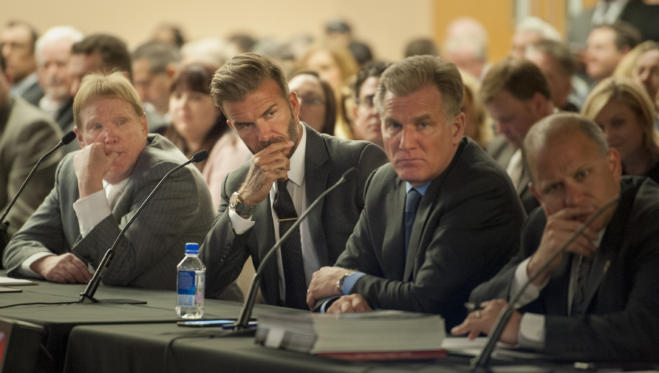 Oakland Raiders owner Mark Davis, from left, soccer star David Beckham, Las Vegas Sands President and COO Rob Goldstein, and President of the Oakland Raiders Mark Badain, listen to discussion at a meeting of the Southern Nevada Tourism Infrastructure Committee at the Stan Fulton Building, UNLV on Thursday, April 28, 2016. The group talked about the initiative to build a domed stadium in Las Vegas which would attract the NFL, major league soccer and other attractions. (Mark Damon/Las Vegas News Bureau)
