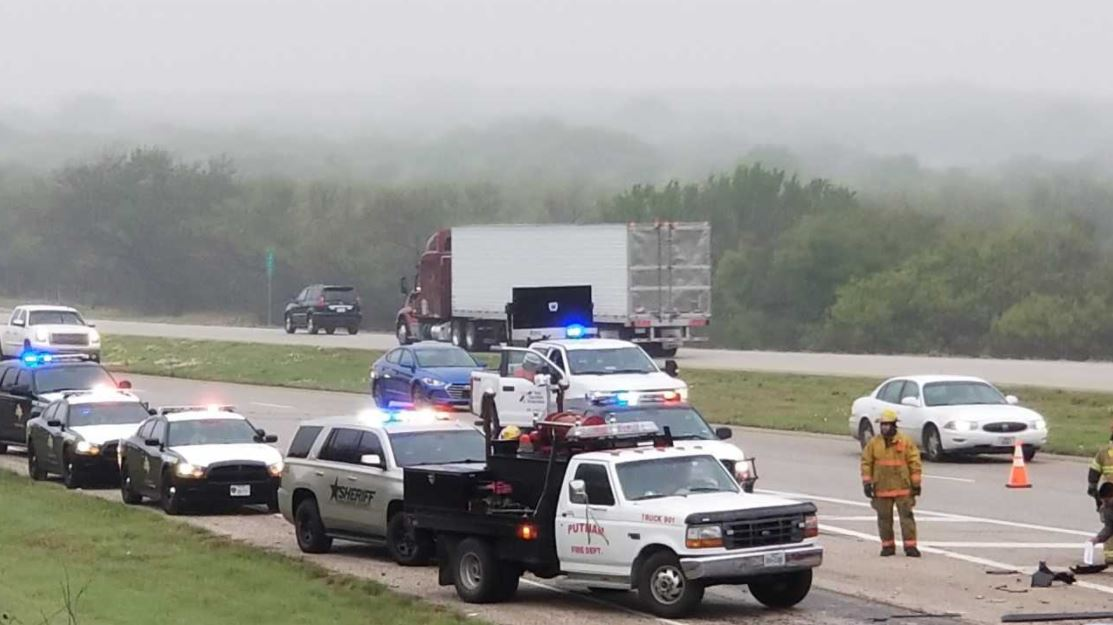 A state trooper told KTXS that a red pickup truck, headed west, crossed the center media and slammed into a Love's tanker truck around 8: 15 a.m. at the Mile Marker 322 exit.