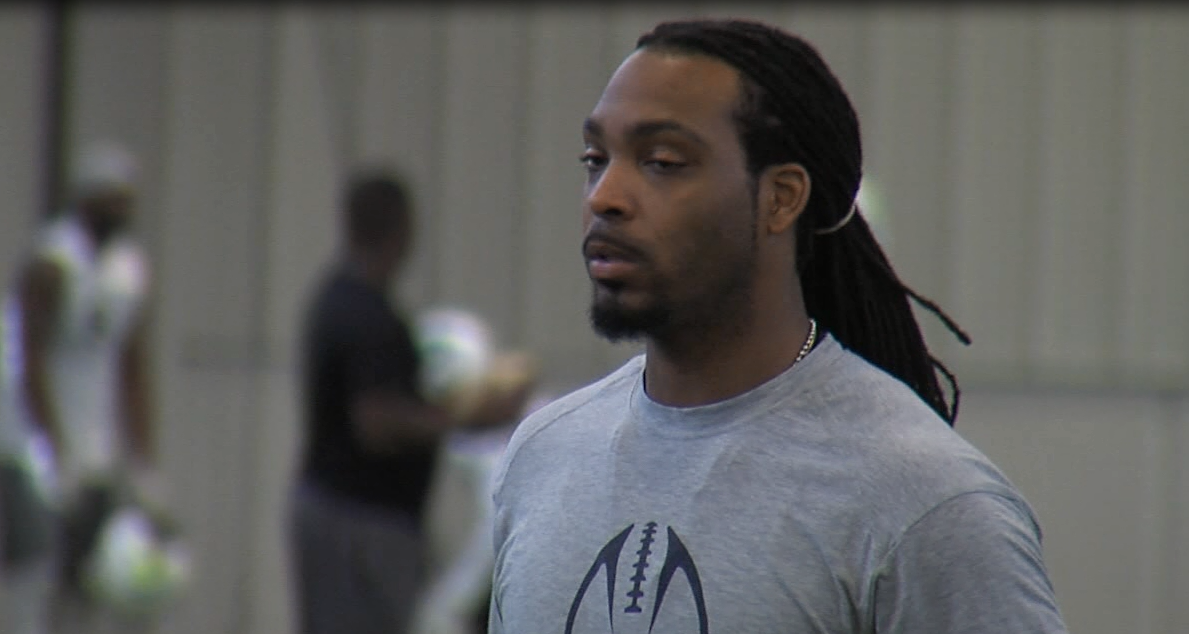 Nebraska Danger quarterbacks coach Jameel Sewell at a practice on May 16, 2017 (NTV News)