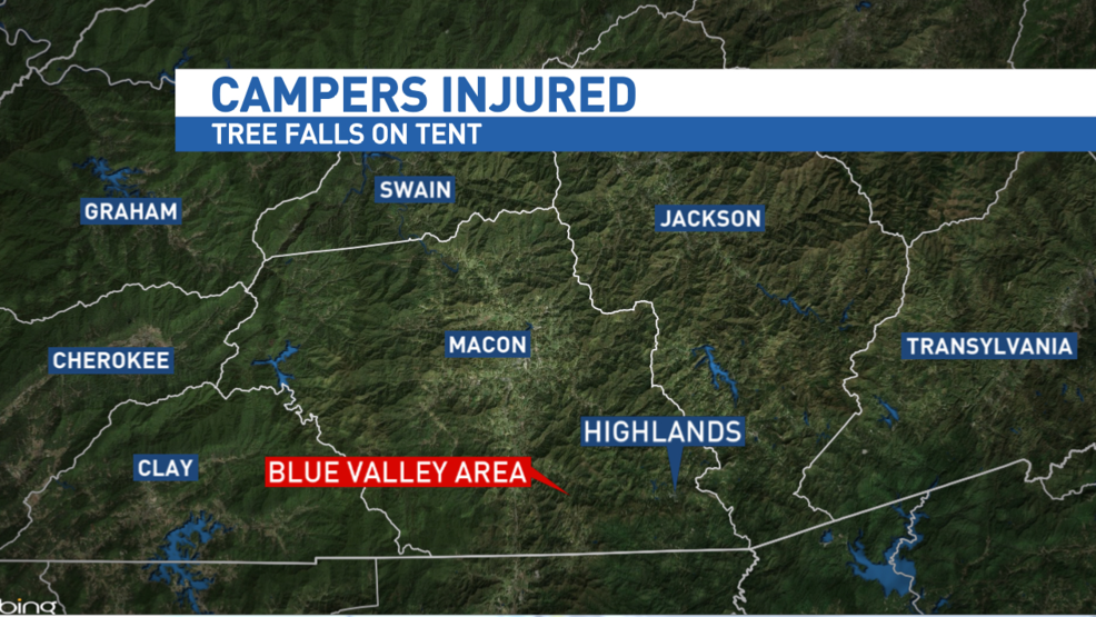 3 children injured when tree falls in tent in Macon County & 3 children injured when tree falls in tent in Macon County | WLOS