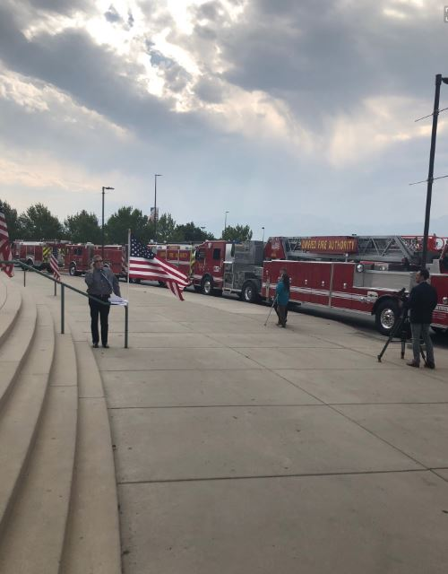 The life of Draper City Fire Department Battalion Chief Matt Burchett is being celebrated with funeral services Monday , 11 a.m., at the Maverik Center in West Valley City. (Photo: Shauna Lake / KUTV)<p></p>