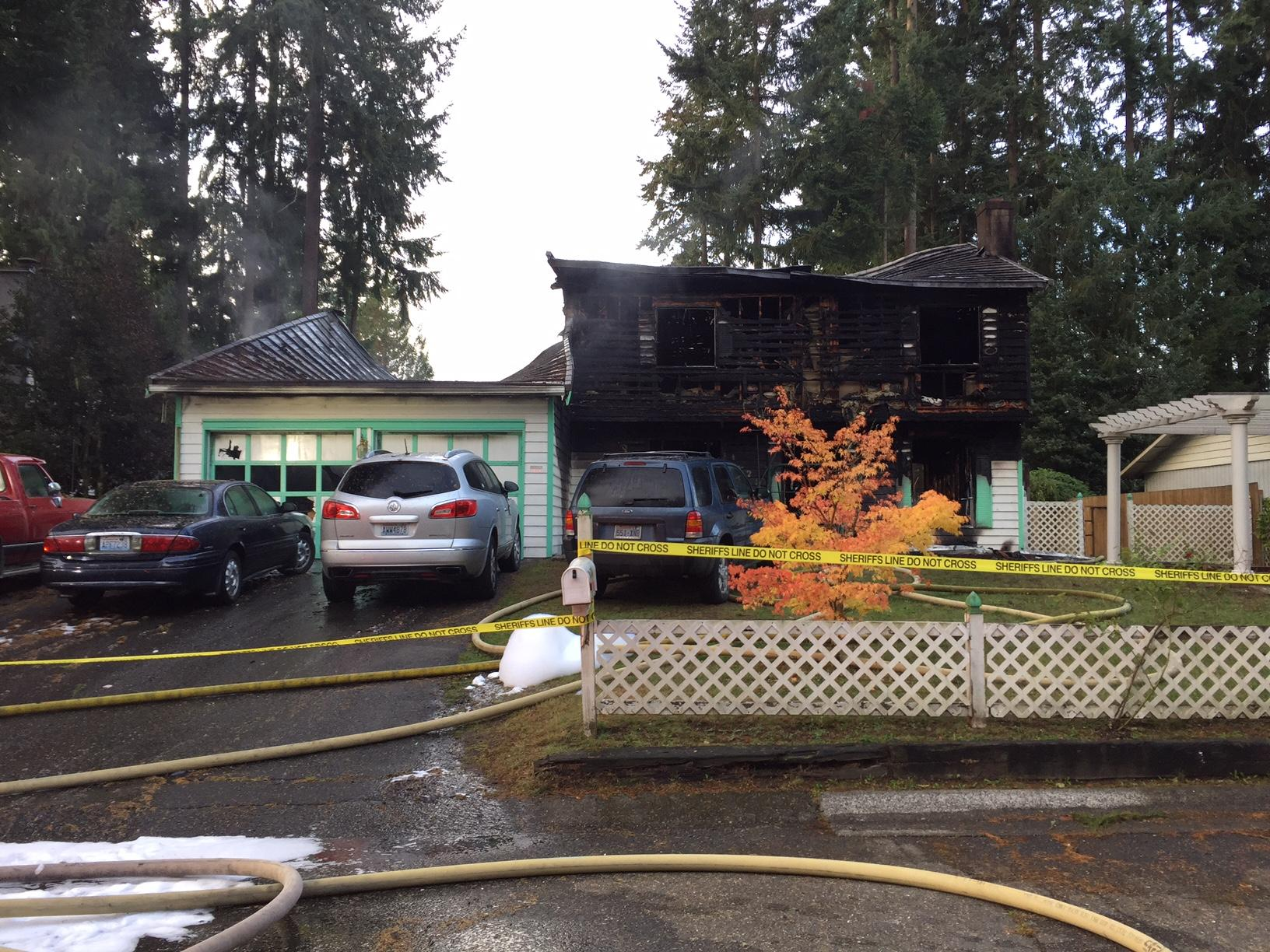 House fire erupts near Port Orchard, killing four people. (Photo courtesy Kitsap County Sheriff's Office)<p></p>