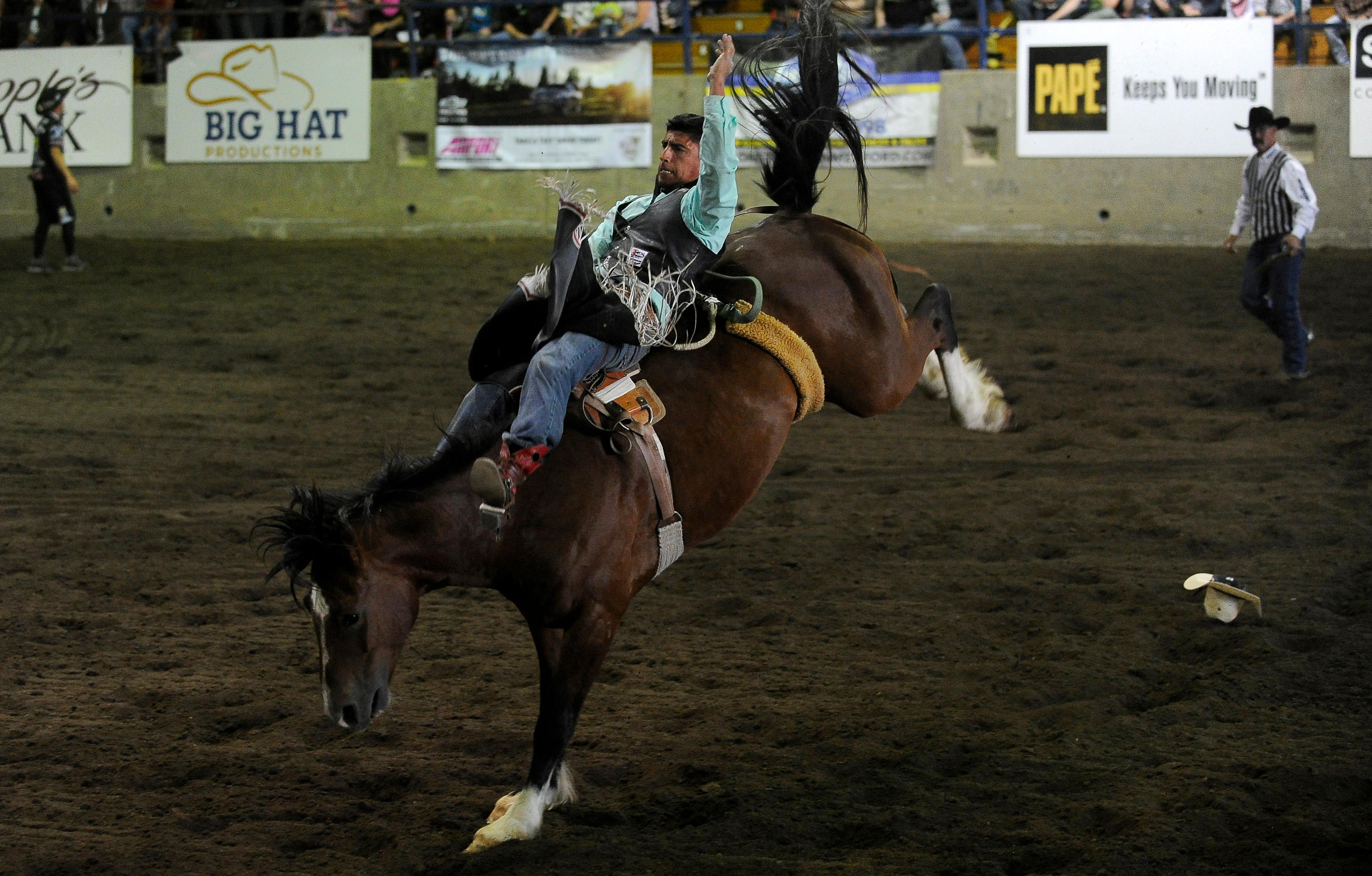 Andy Atkinson / Mail TribuneClay Ramone from Bluffdale, Utah, takes his turn competing in bareback riding at the Jackson County Expo Thursday evening.