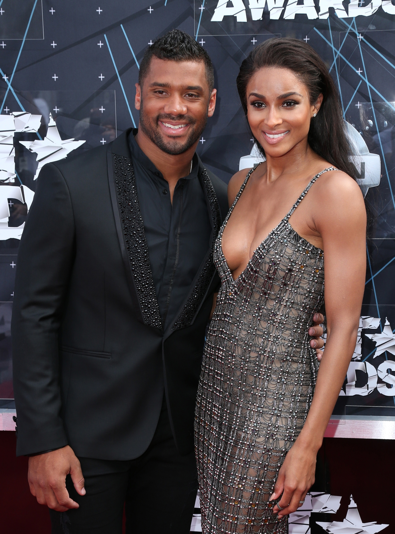 Russell Wilson & Ciara arrive at the 2015 BET Awards on June 28, 2015 in Los Angeles, California. (Photo: FayesVision/WENN.com)