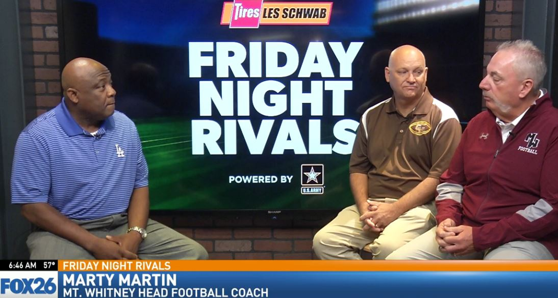 Mt. Whitney head football coach Marty Martin talking about the Pioneers keys to the game