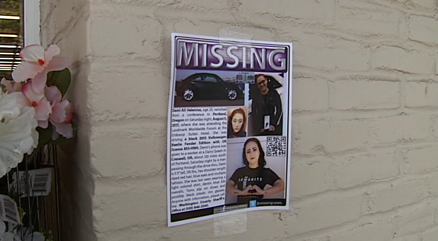 "The family of a missing Portland area woman whose car was found abandoned behind a gas station here Monday traveled to Lane County to mount a search. ""We are not sure if she drove it or another person,"" said Melody Helenius, mother of 23-year-old Demi Helenius. ""We need any eyewitness that can place her on  I-5 south any time after 3 p.m. Saturday. This is the most important clue that the public can help us with."" (SBG)"