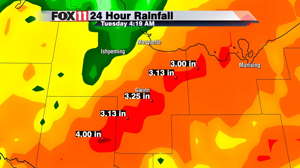Marquette Co. Michigan rain totals 10/18/16 (Courtesy: WLUK)