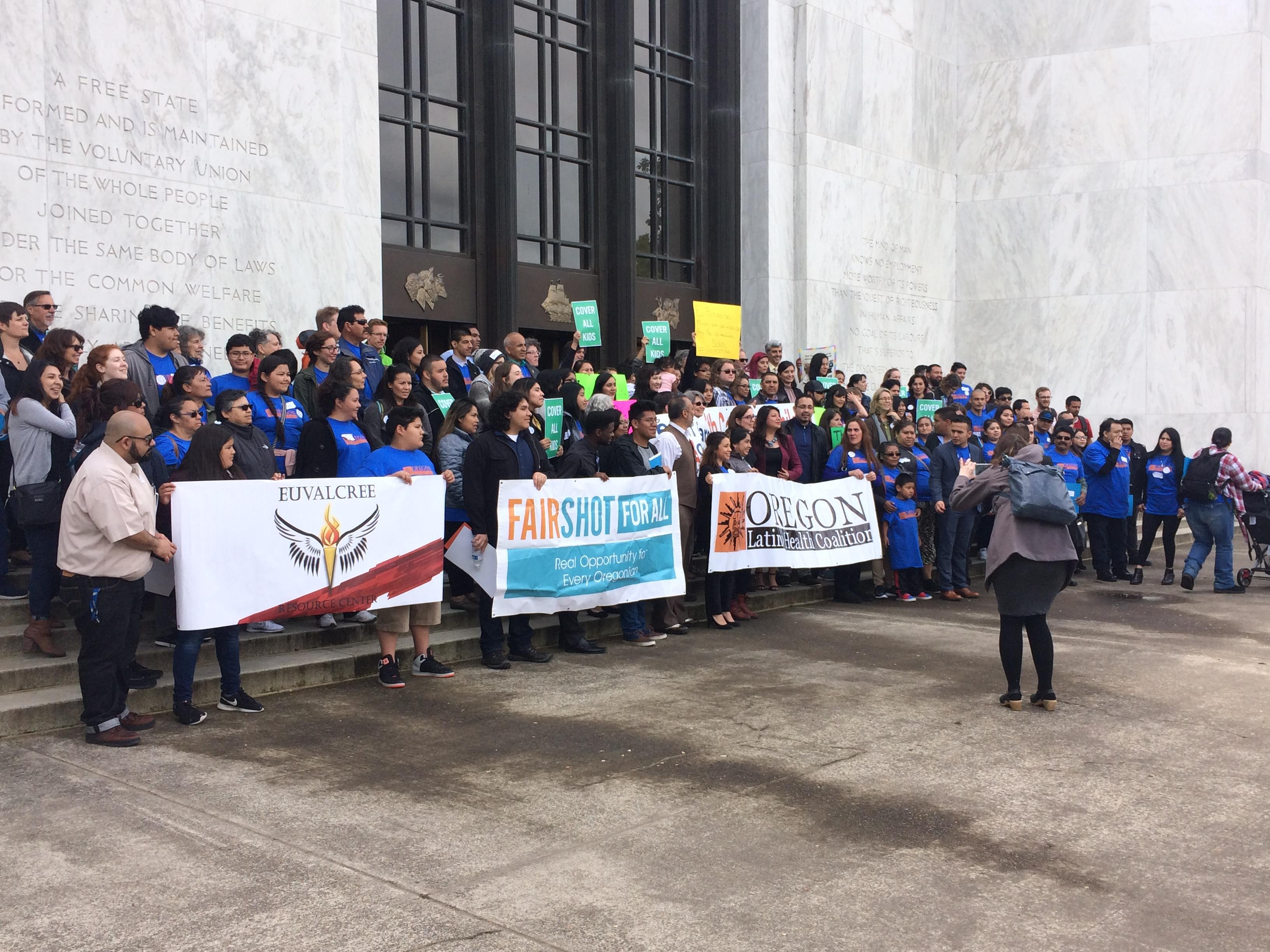 Governor Kate Brown spoke to dozens of people from across the state Friday as they rallied in support of Cover All Kids.  It's a House Bill that would extend health insurance coverage to all children in the state regardless of residency status. (SBG)