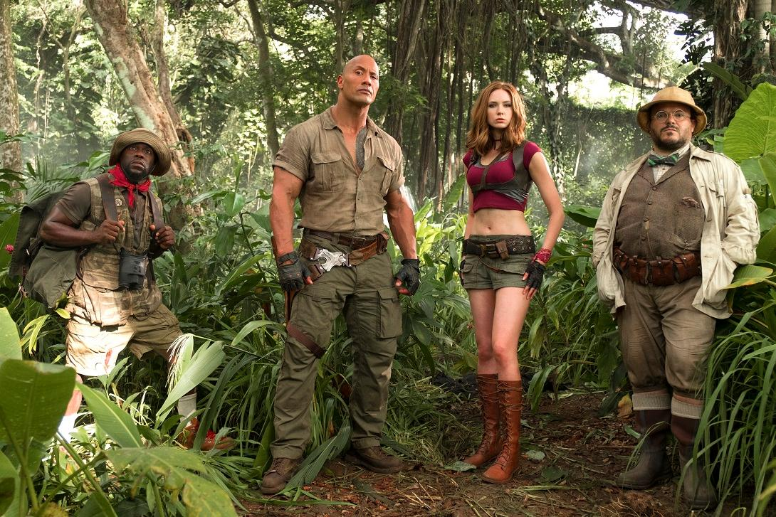"(l to r) Kevin Hart (Franklin ""Moose"" Finbar), Dwayne Johnson (Dr. Smolder Bravestone), Karen Gillan (Ruby Roundhouse) and Jack Black (Professor Shelly Oberon).{ }(Photo: Sony)"