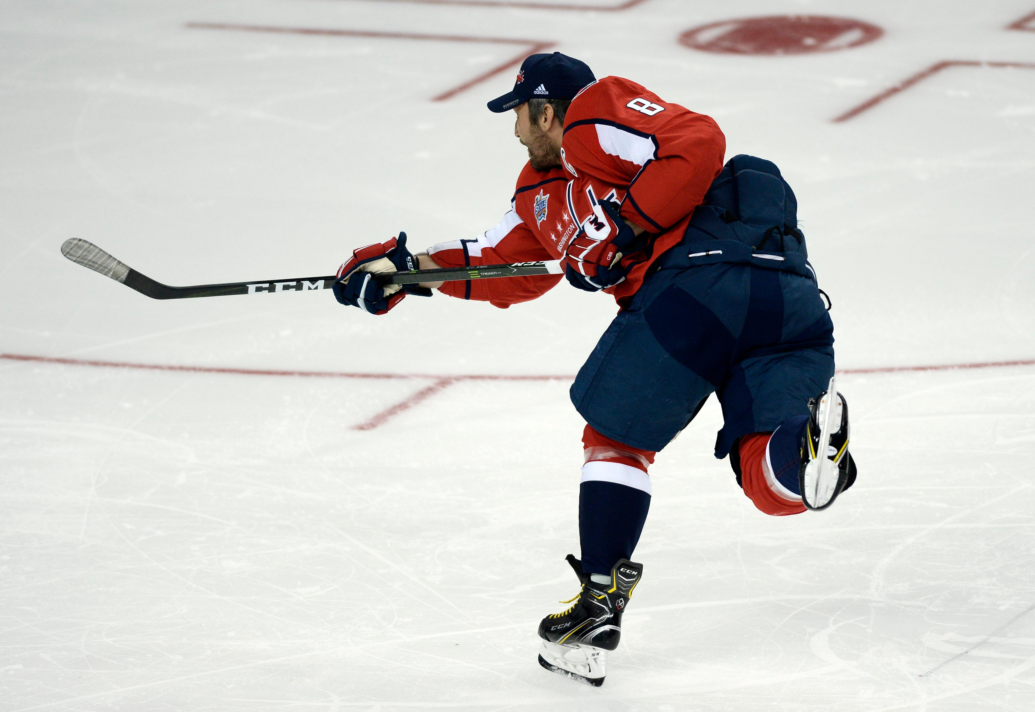 Washington Capitals forward Alexander Ovechkin shoots during the hardest-shot drill during the Skills Competition, part of the NHL All-Star Game weekend, Saturday, Jan. 27, 2018, in Tampa, Fla. Ovechkin won the contest. The game takes place Sunday afternoon. (AP Photo/Jason Behnken)