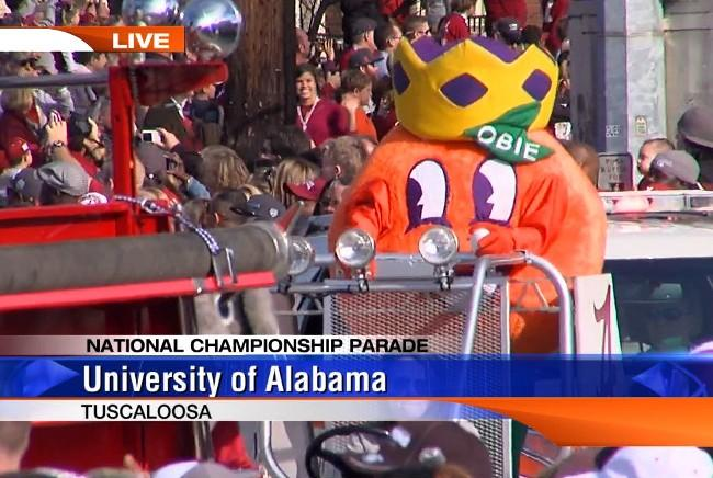 Obie, the Orange Bowl mascot, joined Big AL in Alabama's BCS National Championship parade on Saturday, January 19, 2013.
