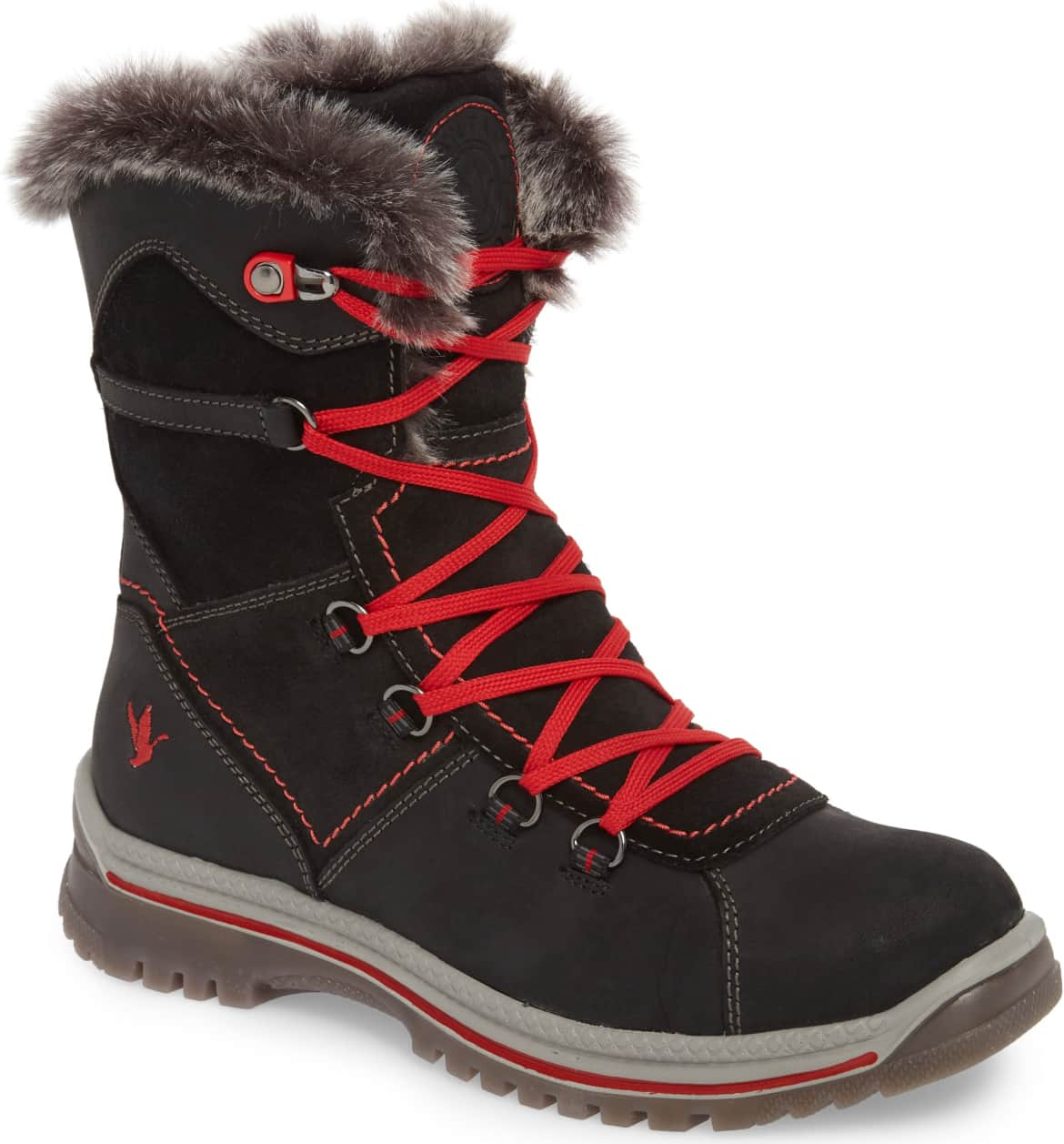 <p>A plush faux-fur lining provides sumptuous comfort and warmth in a lightweight, waterproof leather boot that looks stylish on the slopes.{&nbsp;} Pair with a red jacket and red lips. $238.95 (Image: Nordstrom){&nbsp;}</p><p></p>