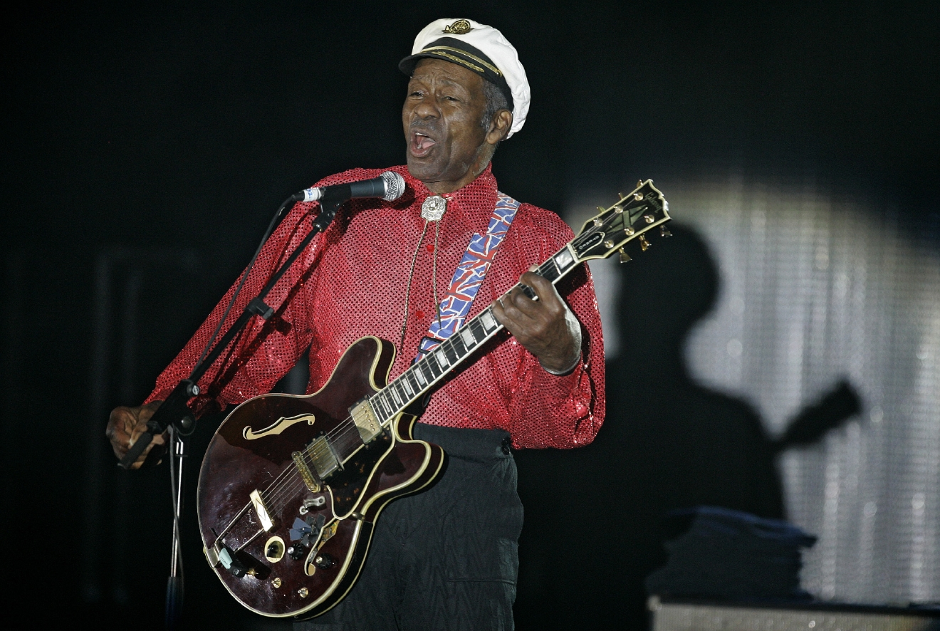 "FILE - In this Saturday, March 28, 2009 file photo, American guitarist, singer and songwriter Chuck Berry performs during the ""Rose Ball"" in Monaco. On Saturday, March 18, 2017, police in Missouri said Berry has died at age 90. (AP Photo/Lionel Cironneau)"